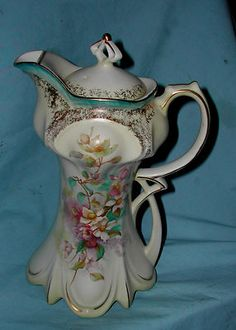 Antique porcelain RS Prussia Suhl Dogwood Floral Chocolate Pot