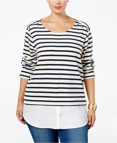 03d0a0f74ef Plus Size Striped Layered-Look Top Layered Look