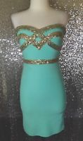 Fashionomics Size Small S Mint Green Gold Sequin Cocktail Party Dress Prom Dance
