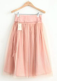 Love Pink! This reminds me of Carrie on Sex in the City! Pink Elastic Waist Belt Below Knee Cotton Skirt #Pink #Chiffon #Skirt