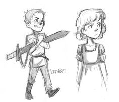 """More Chaol-Celaena artwork from Linneart: """"I just pictured little chaol in my mind holding this giant sword that's too heavy for him, and he carries it around for his dad or something like who knew he would grow into this loyal brave man gah it was just SO CUTe. and I wanted celaena and her awesome attitude :D"""""""
