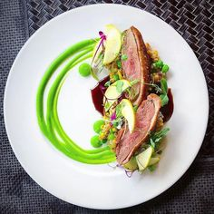 Recipe of Pan Seared Duck breast, coffee cherry demi, summer succotash, pickled apple, English pea by 💥💥 Find the recipe on… Duck Recipes, Gourmet Recipes, Cooking Recipes, Gourmet Foods, Gourmet Food Plating, Gourmet Desserts, Plated Desserts, Sushi Recipes, Food Design