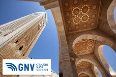 #HassanII #Mosque or #Casablanca #Hajj (Arabic: مسجد الحسن الثاني) is the largest in #Morocco & #Africa: it was designed by M. #Pinseau & built by #Bouygues. It stands on a #promontory looking out to the #Atlantic #Ocean. A maximum of 105,000 #worshippers can gather together for #prayer: 25,000 inside the hall & another 80,000 on the outside grounds.    Discover #GNV routes from/to #Maghreb here: http://www.gnv.it/en/