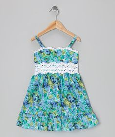 Look at this #zulilyfind! Dreaming Kids Turquoise Lace-Trim A-Line Dress - Infant, Toddler & Girls by Dreaming Kids #zulilyfinds