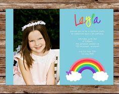 Printable Rainbow Birthday Invitations ~ Rainbow birthday invitation or diy by lilybeedesigns