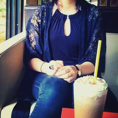 Black outfit and ice coffee