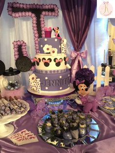 Purple Minnie Mouse birthday party! See more party planning ideas at CatchMyParty.com!