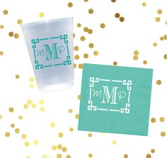 Personalized Plastic Cup Monogrammed Napkins House Warming Gift Reception Frost Flex