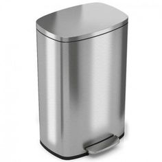 iTouchless SoftStep Gallon Stainless Steel Step Trash Can, 50 Liter Pedal K. iTouchless SoftStep Gallon Stainless Steel Step Trash Can, 50 Liter Pedal Kitchen Trash Can, Silver Stainless Steel Kitchen, Brushed Stainless Steel, Brushed Nickel, Kitchen Trash Cans, Garbage Can, Simple Bags, Deodorant, Biodegradable Products, Canning