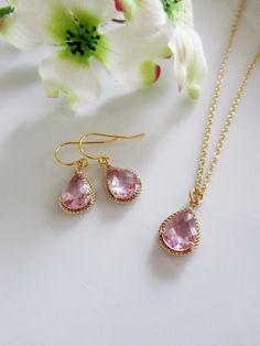 Blush Pink Teardrop Earrings Necklace Set Glass 14k by gardendiva