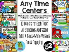 """Looking for an entire year of 2nd Grade Math Centers?  This listing is for a BUNDLED SET of my """"Any Time"""" 2nd Grade Math Centers.By purchasing the BUNDLED SET you will automatically save 25%!  I hope to also create multiplication/division and problem solving sets in the future."""