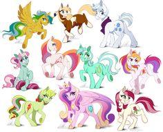 #1004280 - artist:dennybutt, cow pony, double diamond, g1, g2, g3, light heart, lyra heartstrings, masquerade, mimic, minty, princess cadance, rain (character), roseluck, safe, spirit: stallion of the cimarron, sunny daze - Derpibooru - My Little Pony: Friendship is Magic Imageboard