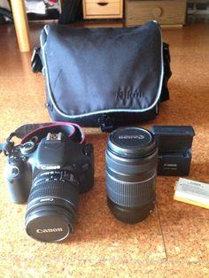 Canon EOS 600D Objectif: 18-55 mm 4 - 5.6 55-250mm 4 - 5.62 batteries. Un chargeur Une carte SD 8Gb. Une sacoche avec poches. Un protège objectif Deux caches objectifs. Location appareil photo Canon et objectif à Villeurbanne (69100) _ www.placedelaloc.com/location/multimedia-high-tech/appareil-photo-accessoires-photo