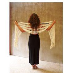 Rustic wedding ivory long crochet lace scarf white bridal
