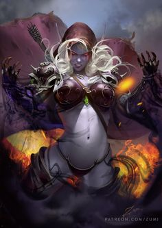 Tagged with art, world of warcraft, fantasy, warcraft, sylvanas windrunner; World of Warcraft: Battle for Azeroth Dark Fantasy Art, Fantasy Girl, Fantasy Art Women, Fantasy Artwork, Art Anime, Anime Kunst, Fantasy Warrior, Comic Kunst, Comic Art