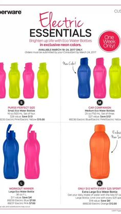 ESSENTIAL eco water bottles BPA and Animal free!!!! Get them ASAP!!!!! ONE WEEK ONLY (Mar 18 - 24/ 2017)!!!! Email: info@pskitchenhelpers.us                 cell phone: 347-815-5094                                      website: www.pskitchenhelpers.us                           #sale #waterbottle #promotion Made with Flipagram - https://flipagram.com/f/15iqS3LFqkM