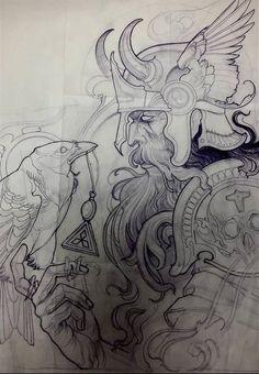 Scandinavian Tattoo Gallery - Check out our website for more tattoo ideas 👉 - Hai Tattoos, Body Art Tattoos, Sleeve Tattoos, Tribal Tatoos, Geometric Tatto, Tattoo Sketches, Tattoo Drawings, Art Viking, Viking Logo