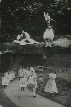 Stills from Alice in Wonderland (1903, dir. Cecil Hepworth, starring May Clark), the first filmed version of Lewis Carroll's tale. When it was first released in 1903, it was a then astonishing 12 minutes long. Unfortunately, the film was not well preserved and only about 9 minutes of it remain intact.