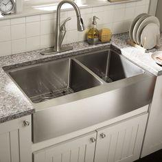 """Want double stainless farmhouse sink Schon Farmhouse 36"""" x 21.25"""" Double Bowl Kitchen Sink"""