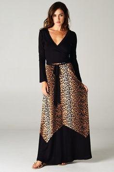 NEW WOMEN ANIMAL PRINT MAXI DRESS 3/4 Sleeve Faux Wrap Long Full Skirt S M L