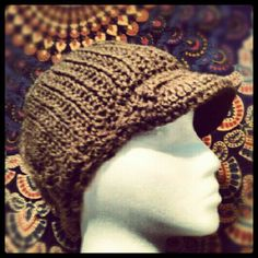 Crocheted hat in mocha colored yarn