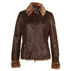 Armani Jeans Womens Shearling Brown Aviator Jacket