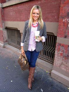 Gray blazer. This girl has the cutest blog! Bows