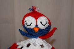 Red white and blue bird head security by MadeinMassachusetts