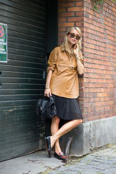 Pernille Teisbaek in H&M top, Zara skirt and Gianvito Rossi shoes - HarpersBAZAAR.com