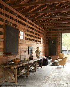 Wooden beams: In the middle of the 26 acre, multi-structure property is the art barn.  Ellen's and Portia's ranch.