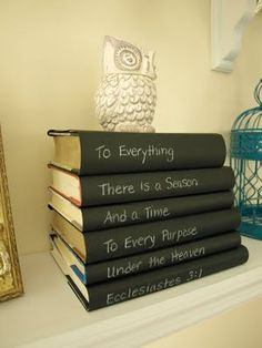 Cover books in black paper and write a scripture verse on the spines.   it! inspired-diy-home-decor