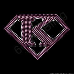 "Rhinestone Iron On Transfer ""Super K"" Kindergarten School Teacher Crystal Bling Design"