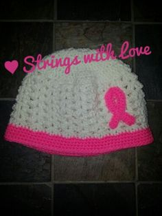 Breast cancer awareness beanie! Hat pattern from  http://www.crochethooksyou.com/crochet-shell-beanie-pattern/ Ribbon pattern from http://sagebrush.typepad.com/photos/free_patterns/breast_cancer_ribbon.html