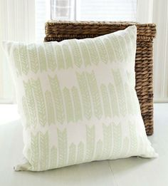 Organic Linen Arrow Pillow in the perfect minty green for Spring | $40