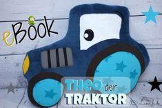 """* Ebook Theo der Traktor von LunaJu  Mööööp, hier kommt Theo das Traktor-Kuschelkissen für kleine Bauernhofliebhaber. Zum Kuscheln, Spielen und ganz toll nutzbar als Nackenkissen beim Lesen.  Der Kopf kommt einfach """"zwischen die Räder"""" :) Das Traktor-E-Book enthält eine ausführliche bebilderte Nähanleitung, die einzelnen Schnitteile und viele Designbeispiele. Hiermit können schon Nähanfänger ein tolles Kuschelkissen zaubern und die Profis unter euch sich kreativ auslassen, schaut euch mal… Bart Simpson, Lana, Plush, Snoopy, Sewing, Toys, Crafts, Character, Stuffed Animals"""