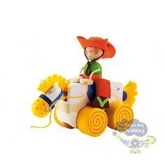 Puxando o Cavalo Cowboy Sevi, Puxando o Cavalo Cowboy, Brinquedos Sevi, Brinquedos de puxar, brinquedos de madeira, puxe e empurre