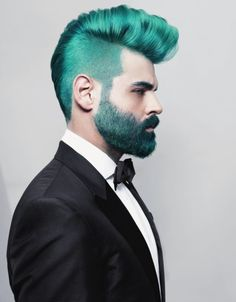 Amazing teal hair, beard, and mustache! This reminds me of the Hunger Games Capitol fashion.