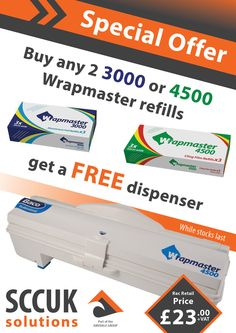 Does your kitchen use high volumes of foil, film or parchment?  Check out this Wrapmaster Dispenser 3000 / 4500 Special Offer  Features and benefits:  i.e. health and safety, enclosed blade, portion control, dishwasher safe (90°C) Easy to refill and increases productivity Grips hold of the wrap ready for the next use One dispenser, multiple food wrap choices Refills available in cling film, foil, baking parchment, greaseproof paper, roasting film, non-stick foil and foil lined parchment