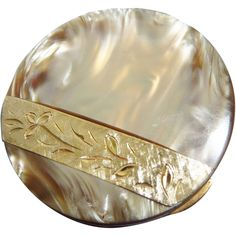 Vintage Round Marhill Fifth Ave Compact Mother of Pearl with Hand Engraved Trim