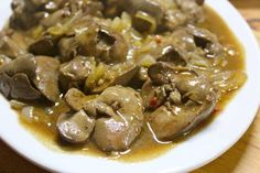"Sauteed Chicken Livers with Lechon ""Gravy""… Onion Recipes, Egg Recipes, Great Recipes, Dog Food Recipes, Cooking Recipes, Filipino Dishes, Filipino Recipes, Chocolate Mousse Recipe, Chocolate Recipes"