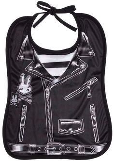 SIX BUNNIES ROCKER JACKET BIB $12.00 #sixbunnies #baby #bib #jacket #leatherjacket