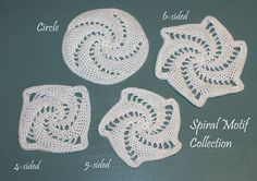 Ravelry: Spiral Motif Collection pattern by Thomasina Cummings Designs Ravelry, Pattern Design, Crochet Earrings, Crochet Patterns, Knitting, Spirals, Crafts, Handmade, Etsy