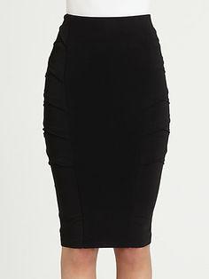 Donna Karan - Crossover-Paneled Stretch Jersey Pencil Skirt - Saks.com