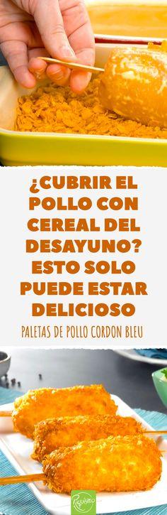 Pollo cordon bleu en forma de paleta. Crujiente por fuera y jugoso por dentro. Relleno de queso fundido y jamón.  #pollocordonbleu #paletadecordonbleu #pollocordonbleu #pollocrujiente #pollofrito #pollorellenodejamonyqueso #cordonbleu #pollo #pollorelleno Cupcake Cones, Baby Shower Duck, Colombian Food, Food Preparation, Seafood, Food And Drink, Appetizers, Healthy Recipes, Meals