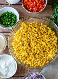 Combine all the ingredients for this summer side dish recipe in one bowl and toss together. This cool and Creamy Corn Salad Recipe is filled with delicious summer flavors in a creamy sauce, making it a delicious summer side dish! Summer Side Dishes, Side Dishes Easy, Side Dish Recipes, Corn Recipes, Veggie Recipes, Mexican Food Recipes, Creamy Peas, Creamy Corn, Dressings