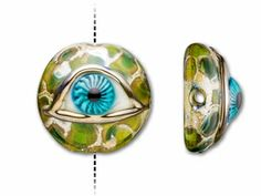 Grace Lampwork Green Eyed Focal Bead