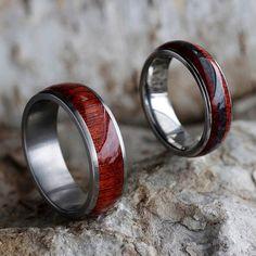 Crimson Ring Set With Bloodwood Titanium Wedding by jewelrybyjohan