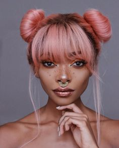 Two buns with bangs,pink hair