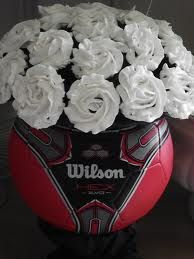 bouquet of flowers in an old soccer ball, or black and white flowers in soccer ball shape for Valentine's day