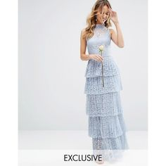 Bodyfrock Pleated Lace Maxi Dress with Tiers (100.335 HUF) ❤ liked on  Polyvore featuring 9e290a960b7